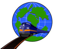 Train with globe Stock Image