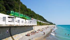 Train goes above a beach Royalty Free Stock Photos