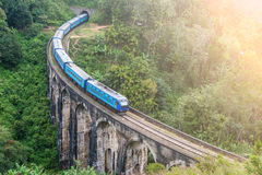 Train goes over bridge royalty free stock images