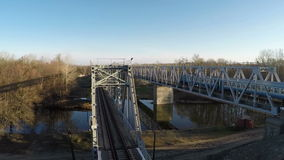 Train goes over the bridge stock footage
