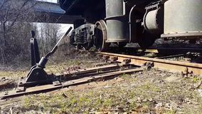 The train goes on rails. Bottom view stock video footage