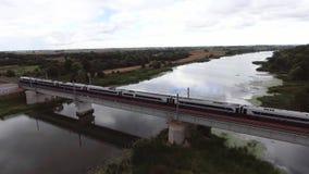 Train going on bridge stock video