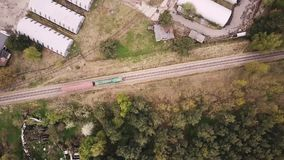 Train going. Drone high train going on stock footage
