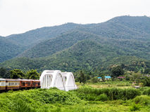 Train going over a bridge and green fields in Chiang Mai Stock Photo