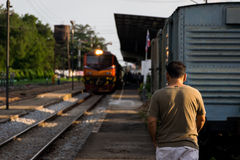 The train is going to stop at the station. Royalty Free Stock Photography