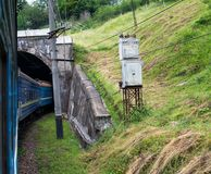 Train going into the tunnel in the Carpathians Stock Photography