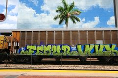 Train with graffiti in South Florida stock photos