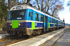 Train in a greek station Royalty Free Stock Photos