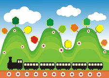 Train in the green hills. Vector image of a train in the hills with trees and flowers Stock Photography