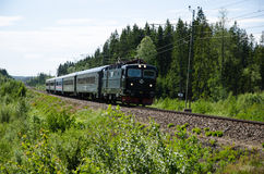 Train in a green swedish landscape Royalty Free Stock Images