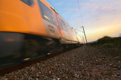 Train. Ground level view of a speeding train Royalty Free Stock Photography