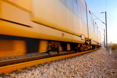 Train. Ground level view of a speeding train Royalty Free Stock Photos