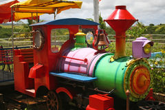 Train in Guam for kids. Colorful locomotive train in the south of Guam stock image