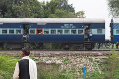 Train Halt in Rural India Stock Image