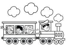 Train and happy children, colorin page Stock Photo