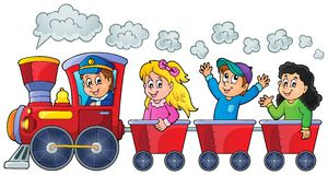 Train with happy kids Stock Photos