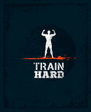 Train Hard Barbell Creative Workout and Fitness Motivation Concept. Vector Typography Grunge Banner.  Royalty Free Stock Photo
