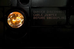 Train headlight and uncoupling instructions. Train headlight and a set of uncoupling instructions Stock Photography