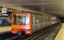 Train on Heysel metro station in Brussels, Belgium Royalty Free Stock Image