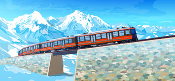 Train in high Alps mountains Stock Photos