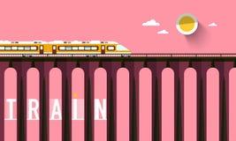 Train on High Bridge with Sunset Sky. Train on High Bridge with Sunset Pink Sky vector illustration