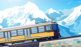 Train in high mountains Stock Photos