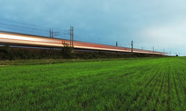 Train -  High-speed rail. High-speed rail with train Stock Photography
