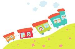 Train on hill. Cartoon happy  train on the hill. Vector Royalty Free Stock Photography