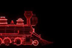 Train in Hologram Wireframe Style. Nice 3D Rendering Stock Images