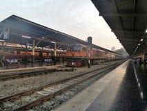 Train at Hua Lumpong Main Railway station Stock Image