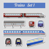 Train icon set. Subway, monorail, funicular transport. Royalty Free Stock Image