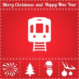 Train Icon Vector. And bonus symbol for New Year - Santa Claus, Christmas Tree, Firework, Balls on deer antlers Stock Images