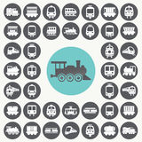 Train icons set. Royalty Free Stock Photo