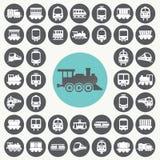 Train icons set. Royalty Free Stock Photo