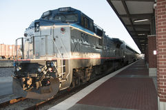 Train. This is an image of an amtrak train in Houston Texas.  It is also named the heartland flyer.  it runs through oklahoma city also Royalty Free Stock Image