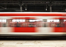 Train In Motion In The Station Royalty Free Stock Photography