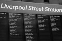 Train indicator board, Liverpool Street Stock Photography