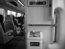 Train interior. Black and white train interior Stock Image