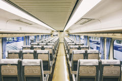 Train Interior with seat in row, Travel Transportation concept Royalty Free Stock Photography