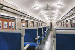 Train Interior with seat in row, Travel Transportation concept Royalty Free Stock Photos