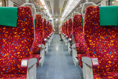 Train interior seat for travel. Stock Photo