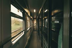 Train interior view from inside railway carriage. Train interior in the morning. view from inside the railway carriage Royalty Free Stock Image