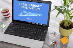 Train internet reservation concept on a laptop Stock Photos