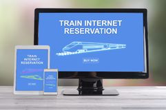 Train internet reservation concept on different devices. Train internet reservation concept shown on different information technology devices royalty free stock photos