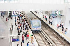 Train Into The Busy Station, China Royalty Free Stock Photo