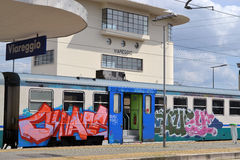 Train in Italy Viareggio with Graffiti Royalty Free Stock Photos