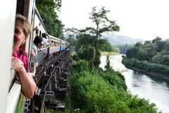 Train Journey Along River Kwai, Kanchanaburi, Thailand Royalty Free Stock Photography