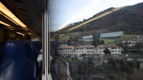 Train journey between the Apennines stock footage