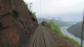 Train journey in Norway. POV travelling along a Iron Line Kiruna - Narvik, in Norway stock video footage