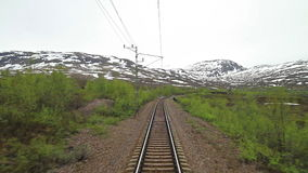 Train journey in Norway. POV travelling along a Iron Line Kiruna - Narvik, in Norway stock video
